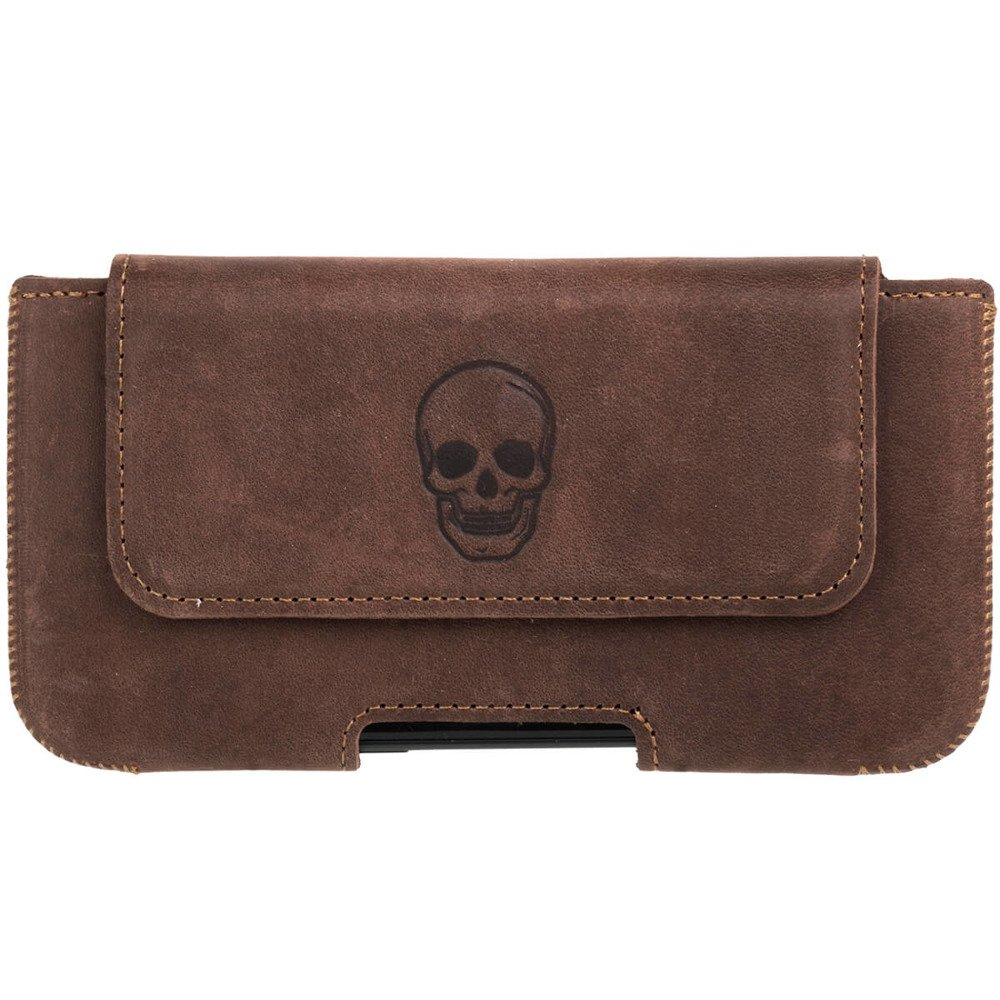 Belt case - Nubuck Nut brown - Skull