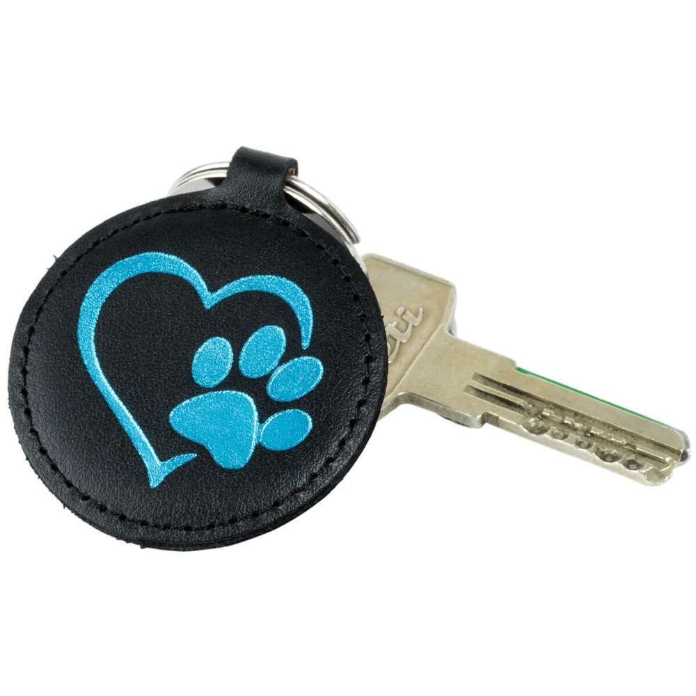 Keychain - Costa Black - Turquoise Paw in the Heart