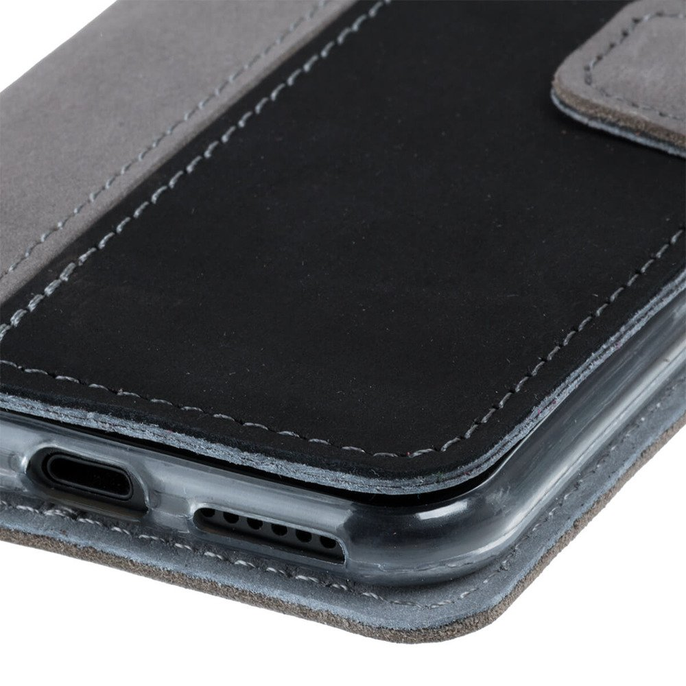 Wallet case - Nubuck Gray and Black
