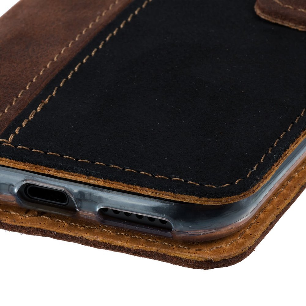 Wallet case - Nubuck Nut and Black