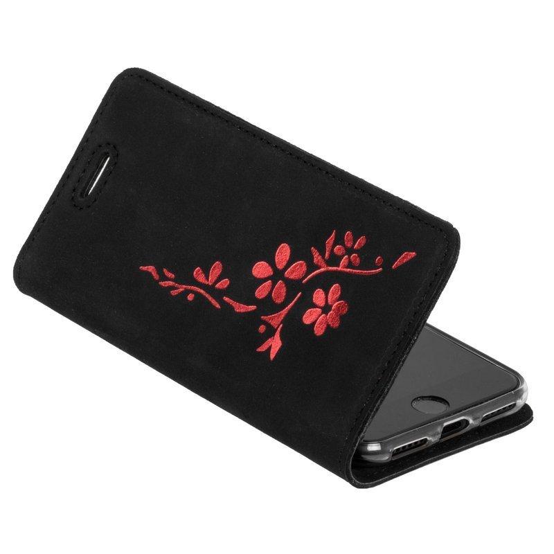 Smart magnet RFID - Nubuk Schwarz - Blumen rot