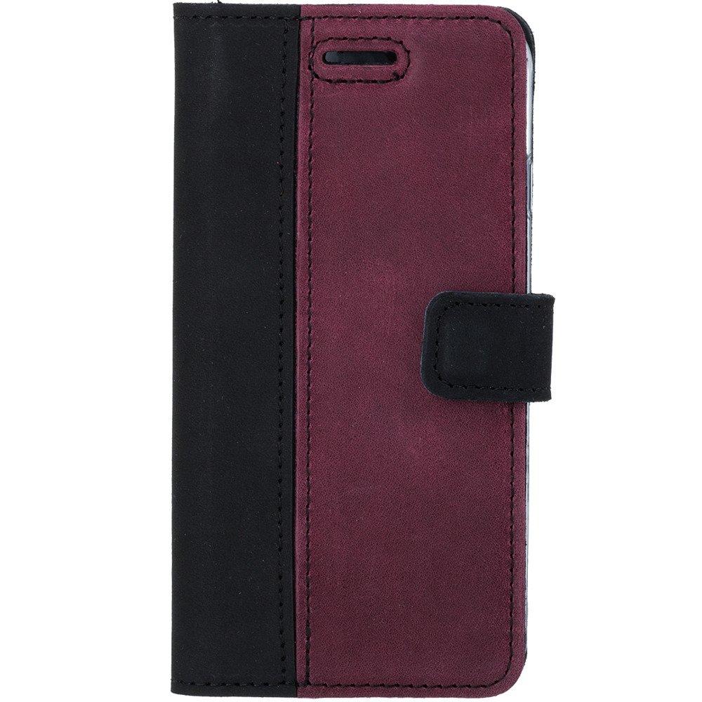 Wallet case - Nubuk Schwarz und Burgund