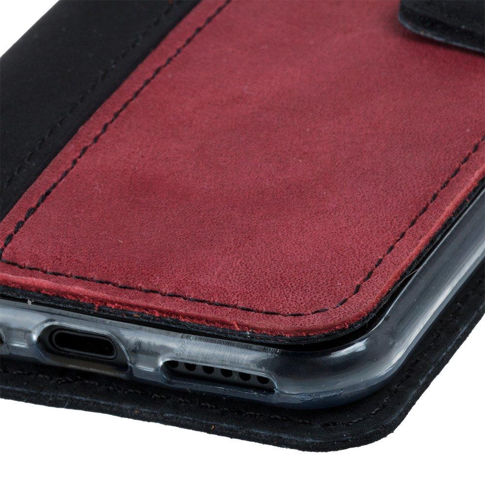 Wallet case - Nubuk Schwarz und Rot