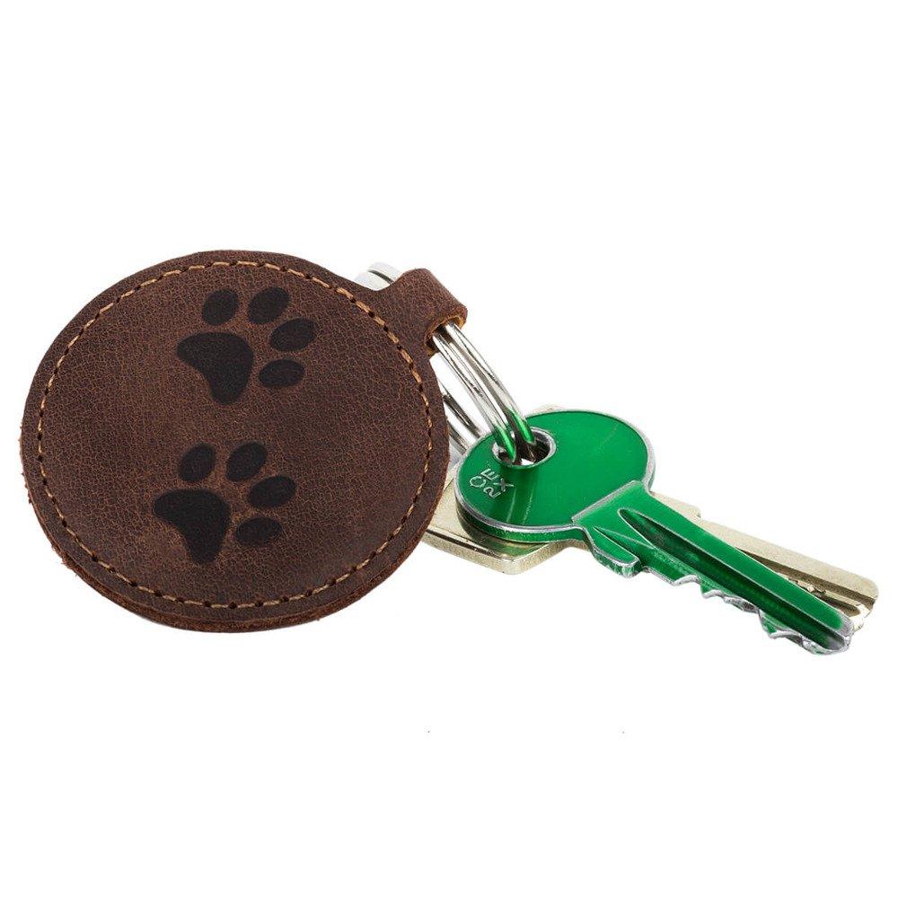 Brelok na klucze - Nubuk Orzechowy - Dwie Łapy