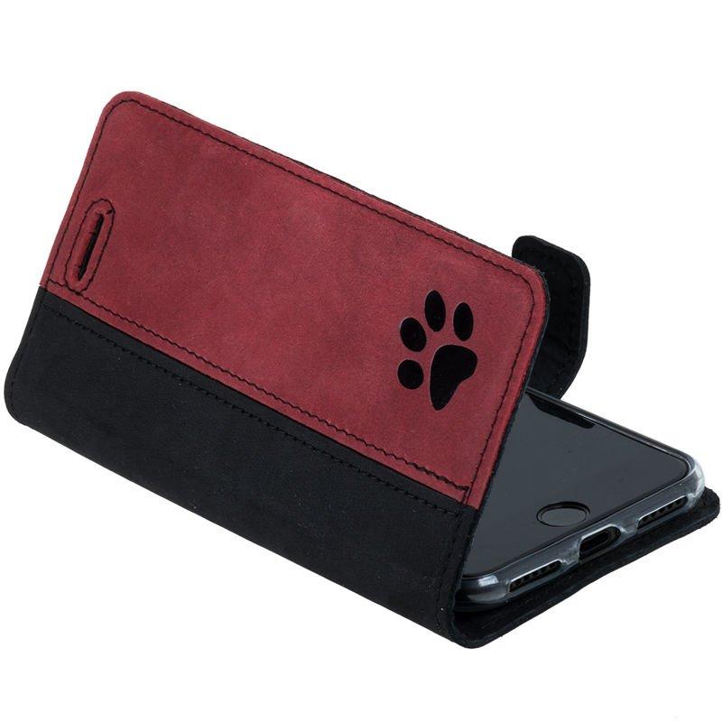 Wallet case - Nubuk  Czarny i Czerwony - Łapa Psa