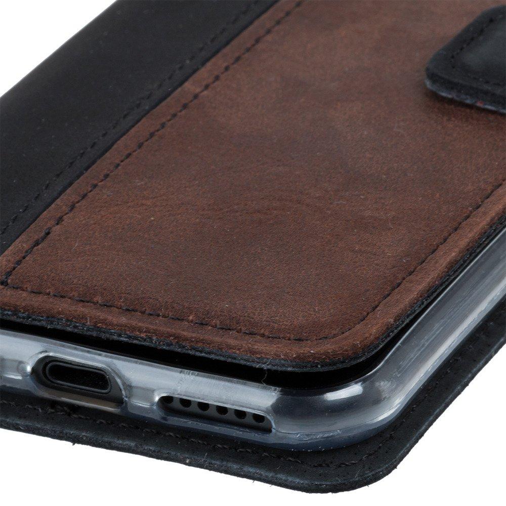 Wallet case - Nubuk Czarny i Orzechowy