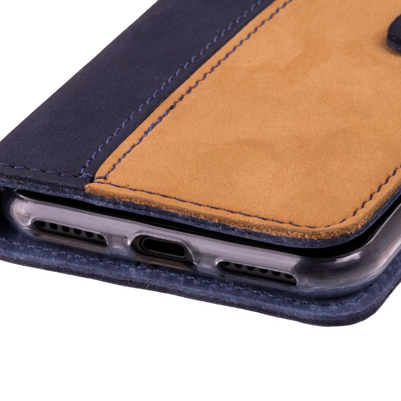 Wallet case - Nubuk Granatowy i Camel